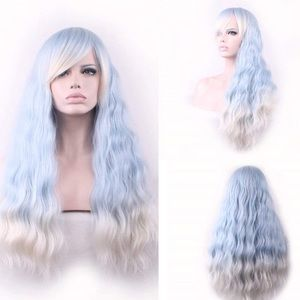 "Baby blue & White 28 "" LONG cosplay wig *NWT*"